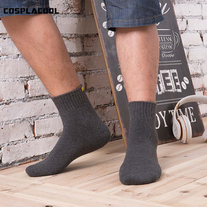 [COSPLACOOL]8 Color High Quality Solid Terry Calcetines Hombre Breathable Seismic Massage Men Socks Towel Unisex Floor Meias