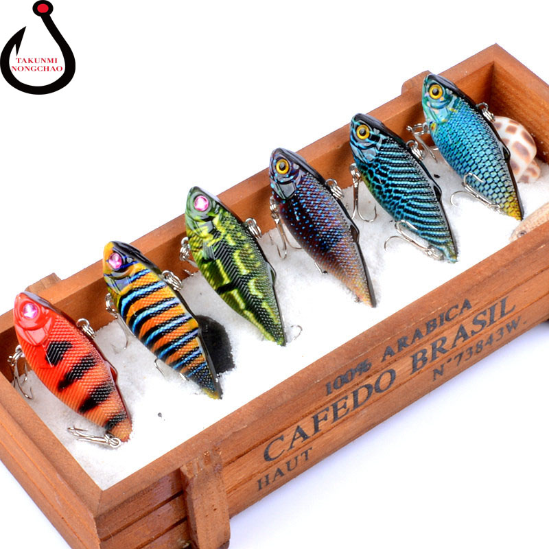 1PCS New Full Swimming Layer Lure VIB 6.5cm / 7.7g Coloured Drawing Pattern Hard Artificial Bait Fishing Lure LD-14