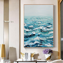 Large Size High Quality Knife Oil Painting  Canvas Handpainted Abstract Sea View Modern Home Wall Decor Palette Picture