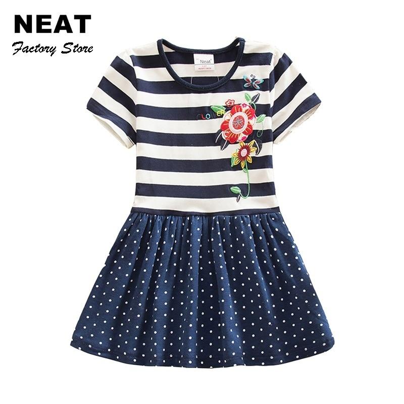 4-8Y Retail Dresses for Girls Baby Cartoon Children Tutu Dress Party Princess Flower Dresses Summer Dress Girl SH5908 Mix