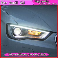 2PCS Car Styling for Audi A3 2014 2016 for A3 head lamp LED DRL Lens Double Beam H7 HID Xenon bi xenon lens