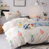 BEST.WENSD Relaxed series fruit design quilt cover set 3d Yellow pineapple bed clothes sheet pillowcase bed cover for bedroom