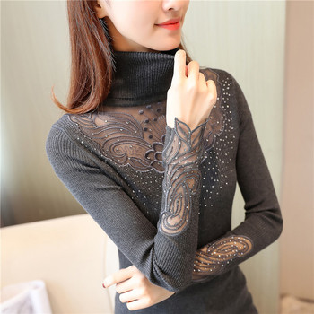 Autumn Winter Women Sweaters Pullovers Turtleneck Knitted Sweater Elegant Casual Lace Pullovers Warm Elastic Knitwear Pull Femme turtleneck fashion patchwork knitted sweater women pullovers contrast color streetwear sweaters tops autumn winter pull femme