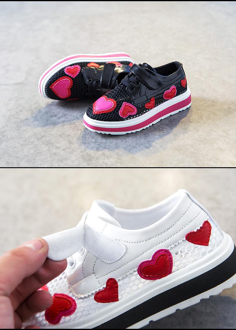 17 Spring girls slip-on love heart shoe for children fashion mesh shoe baby girl brand casual sneaker platform kid sneakers 6