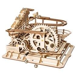 Robotime 4 вида Мрамор запустить игру DIY Waterwheel подставка деревянная модель Строительство Наборы сборки игрушка в подарок для детей и взрослых ...
