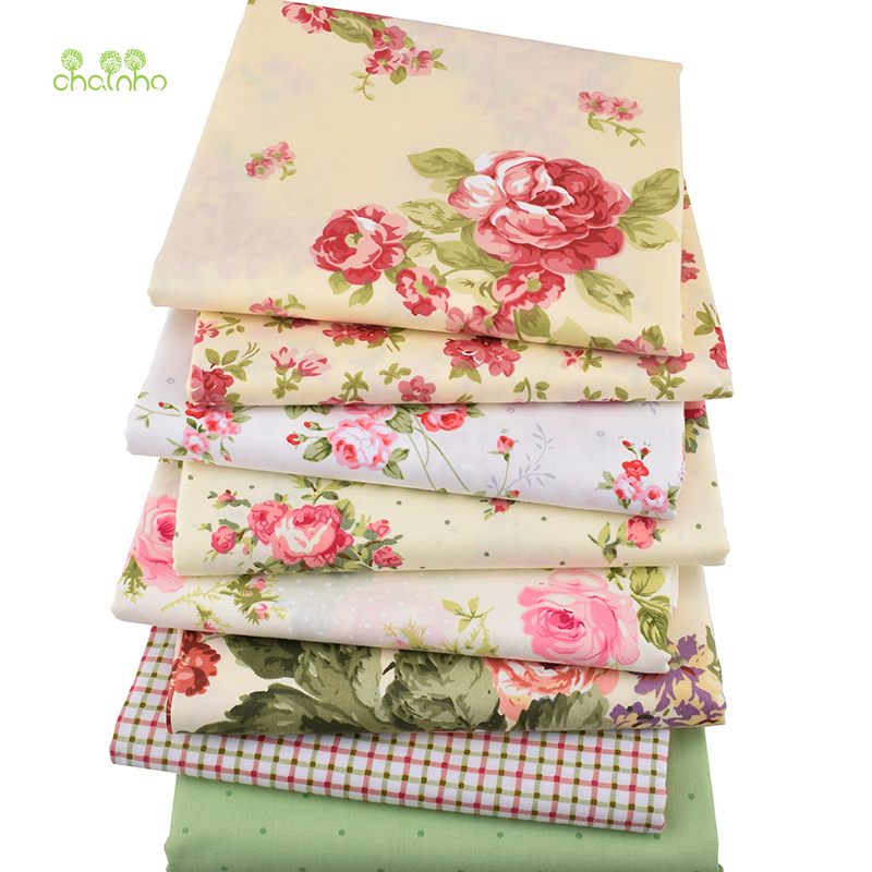 Chainho, 8pcs/lot, Rose Printed Twill Cotton Fabric,Patchwork Cloth For DIY Quilting Sewing Baby&Children Sheets Dress Material