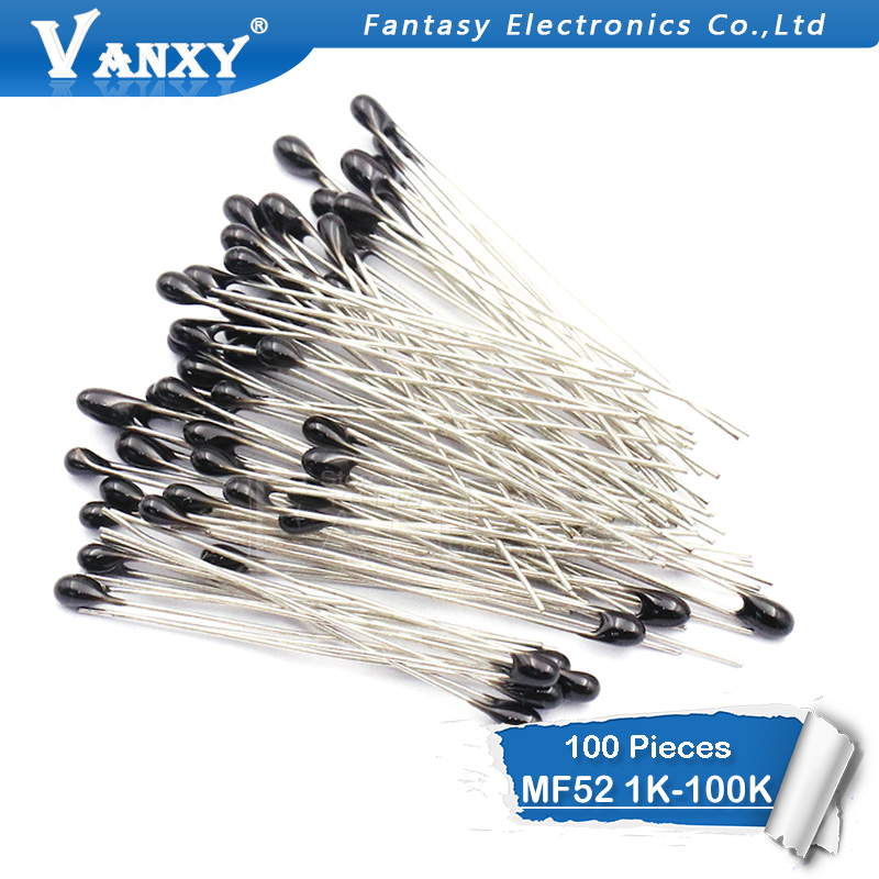 100pcs MF52AT MF52 B 3950 NTC Thermistor Thermal Resistor 5% 1K 2K 3K 4.7K 5K 10K 20K 47K 50K 100K