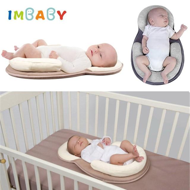 IMBABY bebé forma almohada bebé recién nacido colchón almohada bebé cabeza plana forma almohada bebé enfermería cabeza protección almohadilla