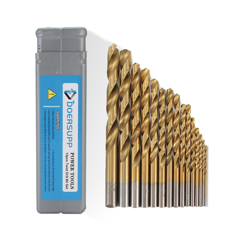 Doersupp 15pcs HSS Titanium Twist Drill Bit Set 1.5-10mm Wood Metal Drilling Tool High Speed Steel 40-133mm Long New Arrival 19pcs hss titanium twist drill bit set high speed steel straight round shank 1 10mm durable power tools for metal drilling