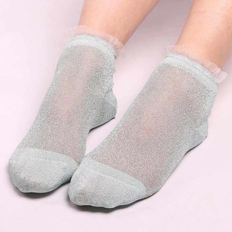 fc676d9e3d2 Women s Socks Meias Fashion Crystal Silk Lace Funny Socks Women Mesh Shiny  Short Socks Transparent Elastic