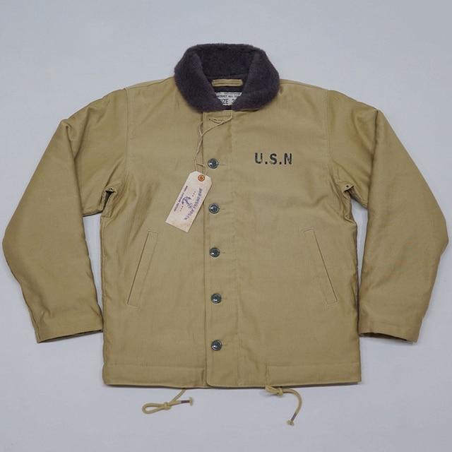 e33eb11dd US $191.57 38% OFF|2018 BOB DONG US Navy N 1 Deck Jacket Basic Model  Vintage USN Men's Military Woolen Coat-in Jackets from Men's Clothing on ...