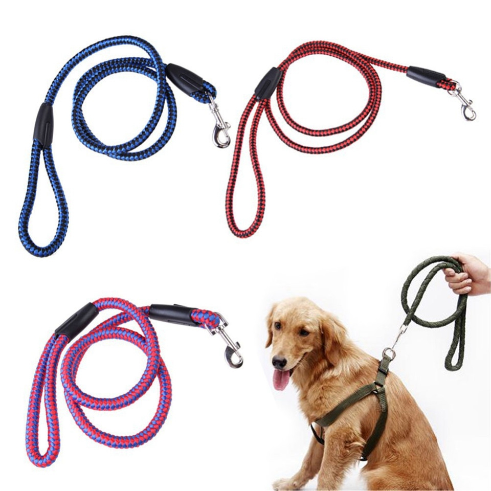 1.2m Pet Dog Cat Collar Harness Plaid Braided Nylon Rope Soft Comfortable Dogs Leash Lead Durable Heavy Duty