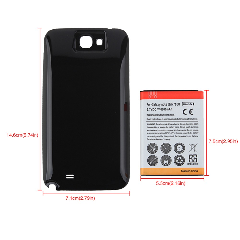 High Capacity 3.7V 6800mAh Replacement Extended Battery For Samsung Galaxy Note 2 N7100 Battery with Back Cover for Galaxy Note2