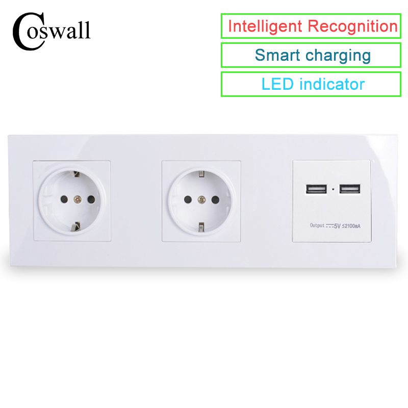 COSWALL Wall PC Panel Double Socket 16A EU Electrical Outlet Dual USB Smart Charging Port 5V 2A Output