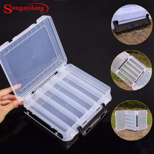 Sougayilang Plastic Double Sided High Quality Fishing Box Spinner Bait Minnow Popper Accessories <font><b>Lure</b></font> Case Fishing Tackle Box