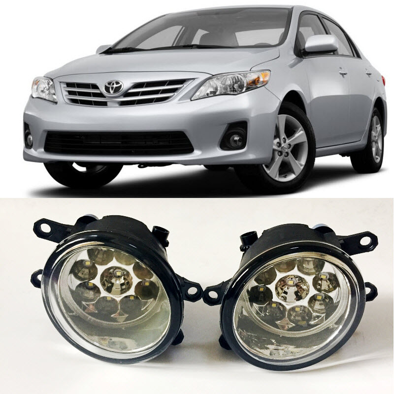For Toyota Corolla 2009 2010 2011 2012 2013 9-Pieces Leds Fog Lights H11 H8 12V 55W Halogen LED Fog Head Lamp Car-Styling