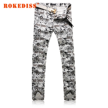 Winter Men Washed with water printing fake designer clothes Slim Straight pants Leisure mens jeans zipper