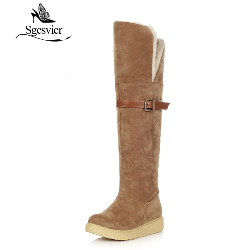 SGESVIER Women Boots Snow Boots 2017 Winter Platform Heel Casual Knee-high Round Toe Buckle Flat Size 34-43 Lady Shoes OX098 стоимость