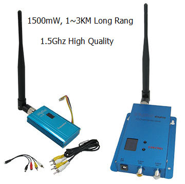 UAV 3000m Long Range Wireless Video Transmitter With 1.5Ghz 1500mW, 12 Channels FPV Video Transceiver Kit, Wireless CCTV System