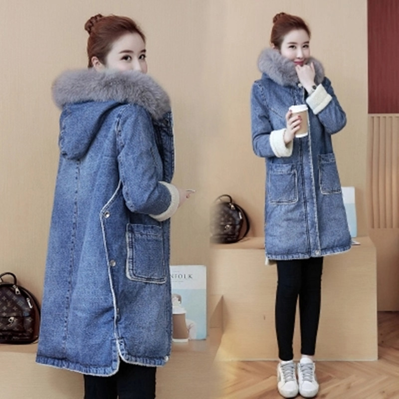 New Autumn Winter Women Coat Plus Size Fashion Solid Pockets Slim MD Long Zipper Thick Jeans Coat For Women Denim Trench Outwear