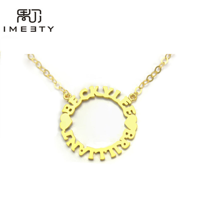 300594abf4 IMEETY personalized couple necklace heart love circle pendant necklace  custom friendship two nameplate necklaces gifts