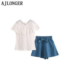 AJLONGER Fashion Children Girl Summer Clothes Lace White Tops+Denim Shorts Ruffle Bow Skirt Outfit Kids Clothing Set