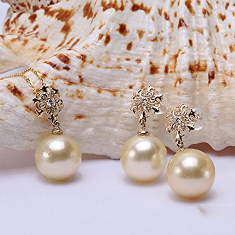 Elegant 9-10MM AAA GRADE REAL ROUND PINK SOUTH SEA PEARLS EARRING 14K GOLD