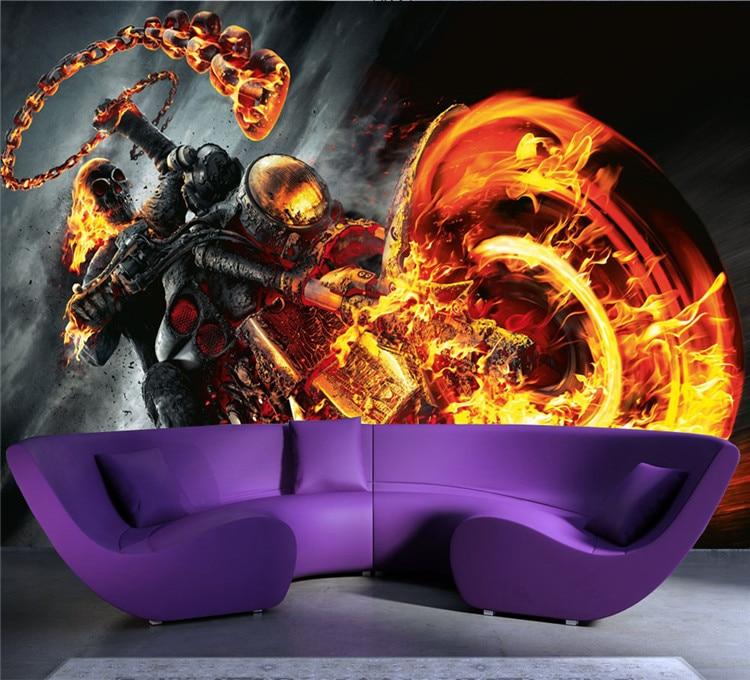 Custom 3D Wall Mural Ghost Rider Photo Wallpaper Marvel