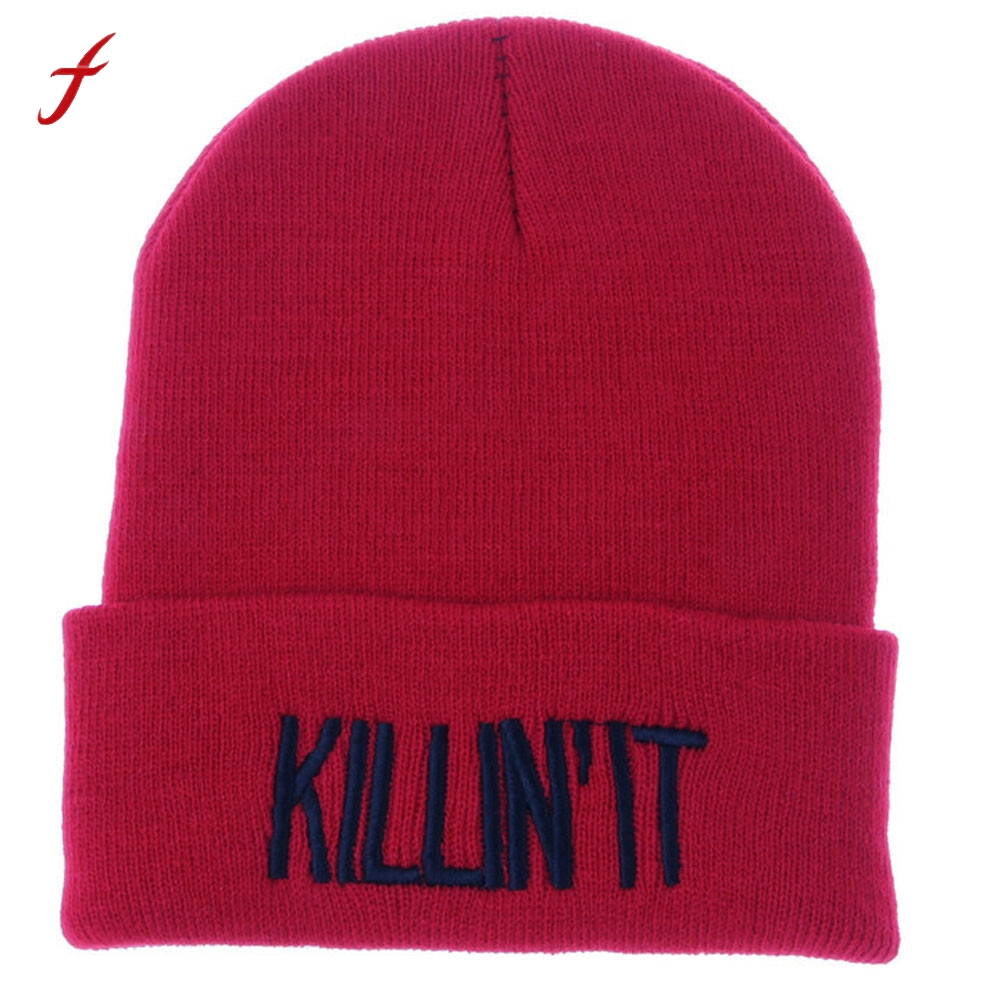 2017 Hot Sale Killin It Letter Unisex Women Men Hat Warm Winter Knit Cap Hip-hop Beanie Hats Leisure Hats For Women female cap rwby letter hot sale wool beanie female winter hat men