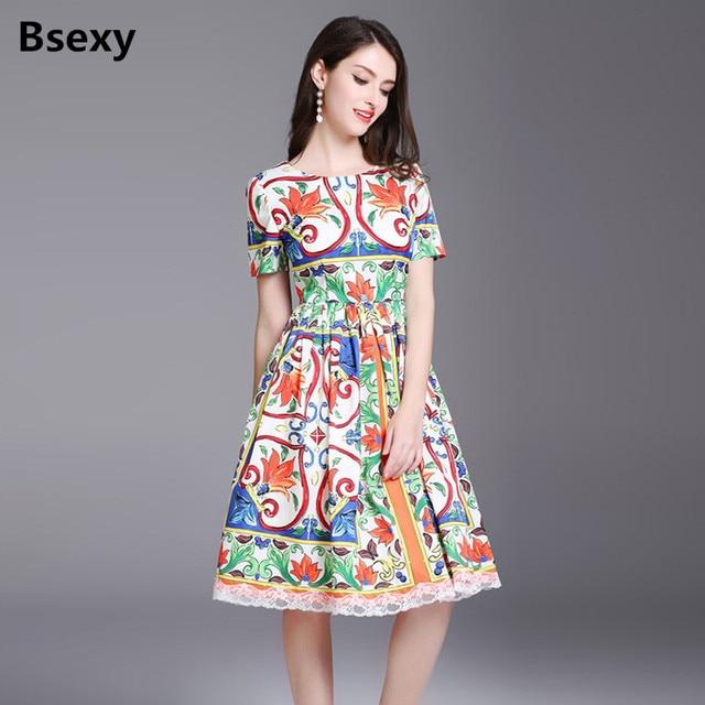 f8530eed54 Vintage Bohemia Dress 2018 Runway designer Women Lace Floral Printed Short  Sleeve Tunic Midi Dress Summber