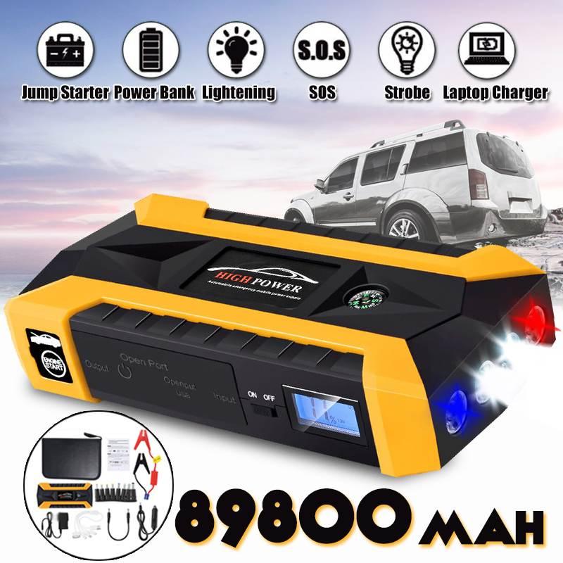 89800mah Car Jump Starter Energy Storage System 4 Lights Power Bank Car Battery Booster Charger Starting Device Car Starter