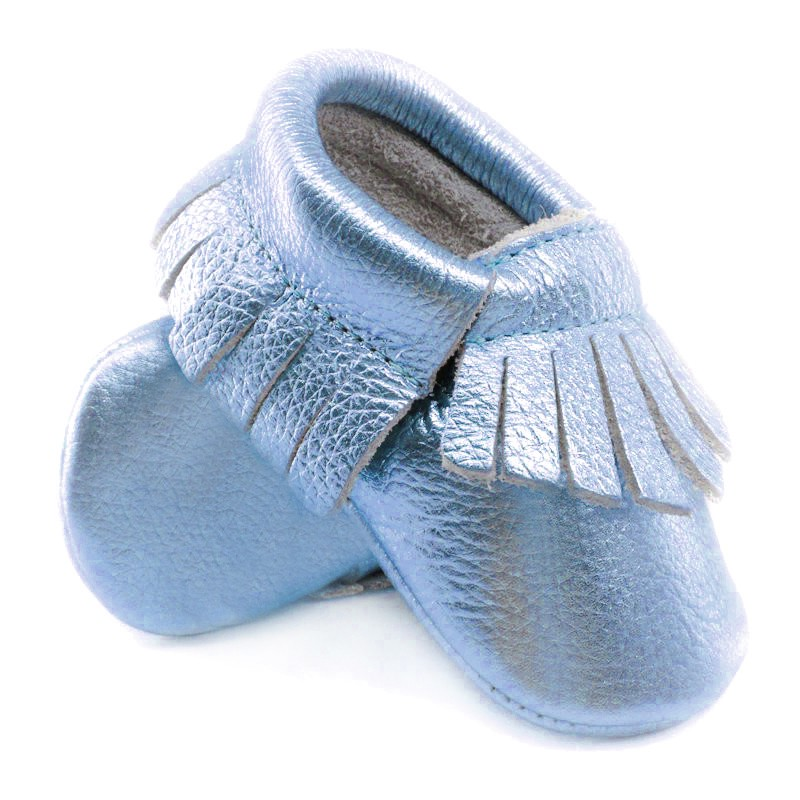 Teal lulu moccs Genuine Leather Baby Toddler Fringe Moccasins Crib Shoes
