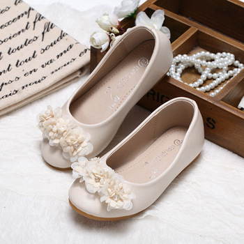 New Spring Autumn Girls Shoes Princess Kids Flat Shoes PU Leather Children Casual Shoes With Flowers Party Show Shoes For Girls