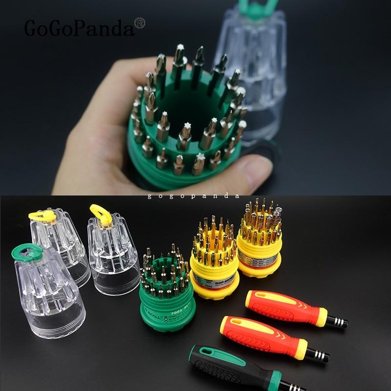 Купить с кэшбэком Precision Handle Screwdriver Set Magnetic Mobile Phone Repair Kit Tools 31 in 1 (T4 Torx)