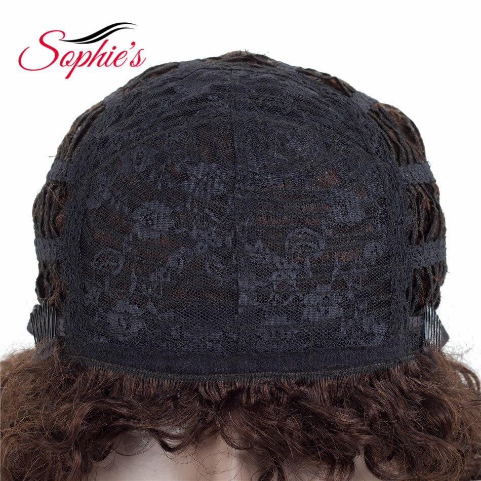 Sophie's Short Human Hair Parykar Non-Remy Huma Curly Parykar För - Skönhet och hälsa - Foto 4