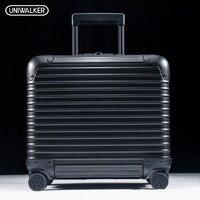 UNIWALKER 100% Алюминий сплав 18 дюймов Чемодан тележка чемодан путешествия с Алюминий стержень Spinner колеса ручной клади багажа