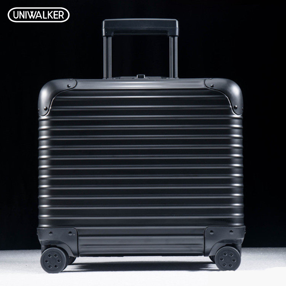 UNIWALKER 100% Aluminum Alloy 18 Inch Luggage Trolley Travel Suitcase with Aluminum Rod Spinner Wheels Carry-ons Baggage