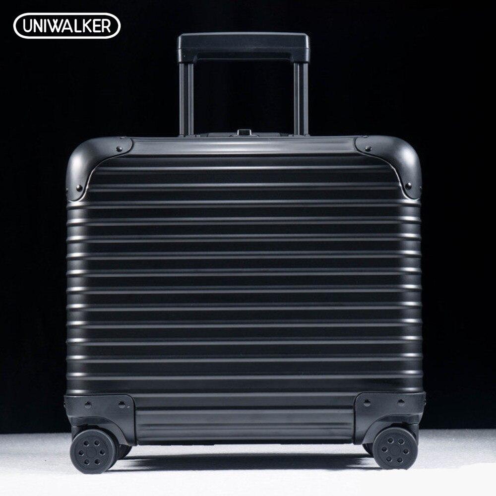 UNIWALKER 100% En Alliage D'aluminium 18 Pouce Bagages Chariot Voyage Valise avec Tige En Aluminium Spinner Roues Bénéficient-ons Bagages