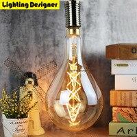 PS52 Big Large Size A160 Edison Bulb Led 6W Light Amber Retro Saving Lamp Vintage Filament