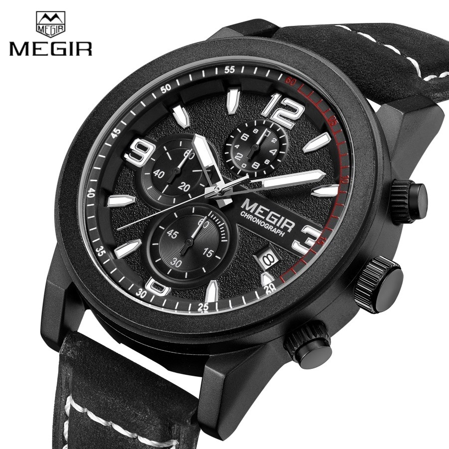 2016 MEGIR Sports Chronograph Men's Watches Top Luxury Brand Quartz Watch Casual Clock Men Genuine Leather Strap Reloj Hombre us standard touch remote control light switch 2gang1way white gold pearl crystal glass wall switch with led indicator mg us01rc