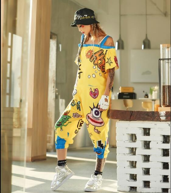 Pre-Sale 2018 Women   Jumpsuits   Off The Shoulder Strap Pants For Women Yellow Cartoon Hip Hop Dance Rompers Streetwear