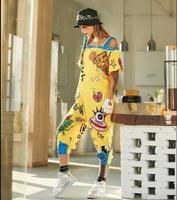 Pre Sale 2018 Women Jumpsuits Off The Shoulder Strap Pants For Women Yellow Cartoon Hip Hop Dance Rompers Streetwear