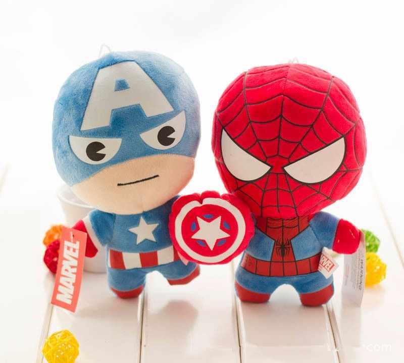 Avengers kapitan ameryka Iron Man Spiderman Hulk Thor pluszowe zabawki Kawaii miękkie pluszowe zabawki Superhero pluszowe lalki Peluches