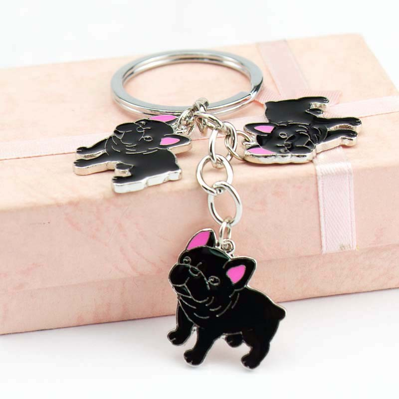 Жаңа Pet Bulldog Charms Keychain Ілмектер Түйінді сөздер Keychains Woman Car Key Ring Көтерме металл Key Chain Pendants Keychains Men Gift