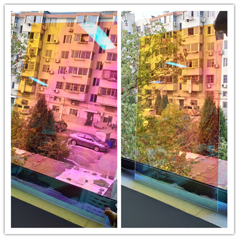 1.37x30 m 2mil gros rouleau effet arc-en-ciel Chamelon fenêtre Film décoratif fenêtre teinte 54''x100ft