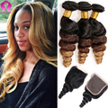 7A Ombre Malaysia Virgin Hair Wet And Wavy With Closure Mink Hair With Closure Honey Blonde Weave With Closure Remy Virgin Hair