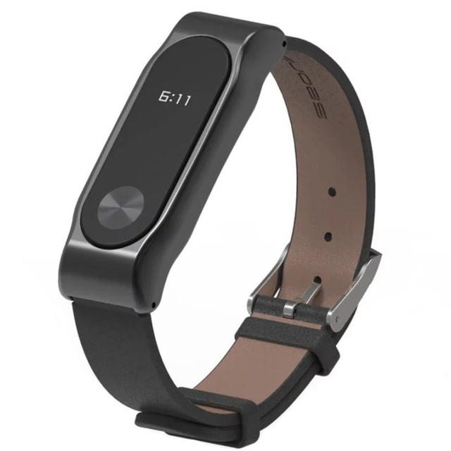 New Xiaomi Mi Band 2 Leather Strap Belt with Screen Protective Metal Wristband For Mi Band 2 Smart MiBand Replacement Bracelet