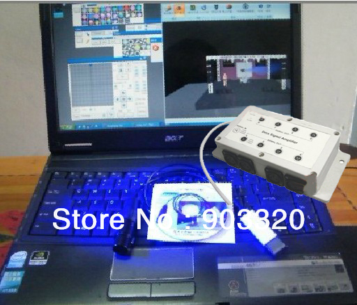 Freeshipping USB DMX Cable USB to DMX512 interface Controller With Isolation 1IN 8OUT DMX Amplifier