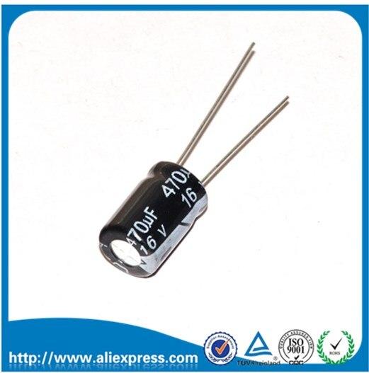 50ピース16ボルト470 uf 470 uf 16ボルトアルミ電解コンデンササイズ8*12ミリメートル16ボルト/470 uf電解コンデンサ送料無料