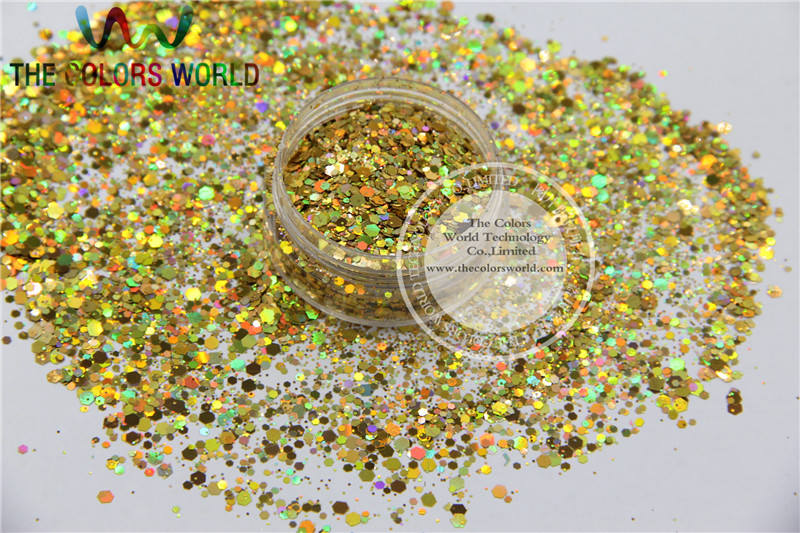 H21514-145 Holographic Gold Color Mix Size Glitter Hex Spangles for Nail Polish Acrylic,DIY supplies1pack=50g tcf510 solvent resistant neon rose carmine color mickey mouse shape spangles for nail polish and other diy decoration1pack 50g